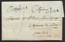 An2 - 1794 - LAC - 5 DIGNE (Frappé X 2 ) 23mm X 9mm (Basses Alpes) - Poststempel (Briefe)