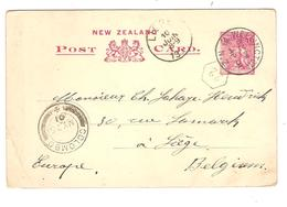 PR6154/ New-Zealand Entire PC 1 1/2 Penny Wellington 1901 Via Colombo To Belgium Liège Arrival Cancellation - Entiers Postaux