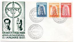 Europa.Roumanie. Ion Mota, Vasile Marin Majadahonda 13 Ianuarie 1937. Cachet à Date 13/01/1957. - Europese Instellingen
