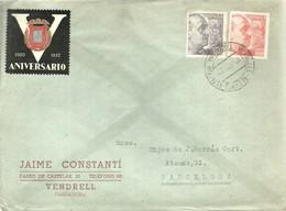 CARTA  1944  MATASELLOS    ALCANCE  ESTACION  EL VENDRELL   RARO - 1931-Hoy: 2ª República - ... Juan Carlos I