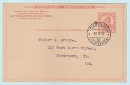 UNITED STATES - UY12 International Reply Card Returned In 1938 From Triesenberg, LIECHTENSTEIN - Entiers Postaux