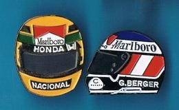 2 PIN'S  //  ** CASQUES PILOTES / AYRTON SENNA / GERHARD BERGER ** - Car Racing - F1