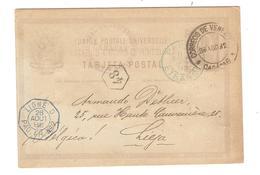 PR6157/ Venezuela Entire PC Caracas 1892 Via French Paquebot & Paris To Belgium Liège Arrival Cancellation - Venezuela