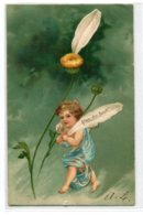 """ANGES 006 Ange Et La Marguerite """" Pas Du Tout"""" Carte GAUFREE   1904 Timbrée Dos Non Divisé - Anges"""