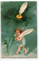 """ANGES 007 Ange Et La Marguerite """" Oder Garnicht """" Carte GAUFREE   1904 Timbrée Dos Non Divisé - Anges"""
