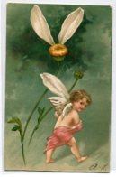 """ANGES 008 Ange Et La Marguerite """" Tendrement  """" Carte GAUFREE   1904 Timbrée Dos Non Divisé - Anges"""