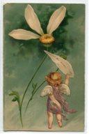 """ANGES 009 Ange Et La Marguerite """" Moi Aussi  """" Carte GAUFREE   1904 Timbrée Dos Non Divisé - Anges"""