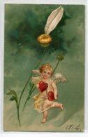 """ANGES 010 Ange Et La Marguerite """" Passionnément  """" Carte GAUFREE   1904 Timbrée Dos Non Divisé - Anges"""
