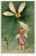 """ANGES 011 Ange Et La Marguerite """" Beaucoup """" Carte GAUFREE   1904 Timbrée Dos Non Divisé - Anges"""