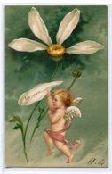 """ANGES 012 Ange Et La Marguerite """" Un Peu  """" Carte GAUFREE   1904 Timbrée Dos Non Divisé - Anges"""