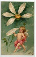 """ANGES 013 Ange Et La Marguerite """" Je T'aime   """" Carte GAUFREE   1904 Timbrée Dos Non Divisé - Anges"""