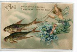 ANGES 018   Petit Ange Conduisant Un Attelage¨Poissons 1er Avril CARTE GAUFREE 1908 Timbrée - Angels