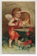 ANGES 020 Petit Ange Forgeron Au Travail Souvenir CARTE GAUFFREEE EMBOSSED     écrite - Angeli