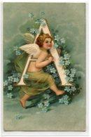 """ANGES 030 Lettre ALPHABET  """" A  """"  Petit Ange GAUFREE RELIEF EMBOSSED  1905 écrite Timbrée - ART  NOUVEAU - Anges"""