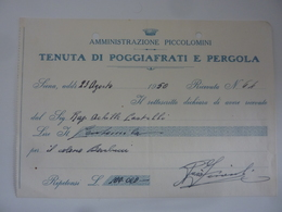 """Ricevuta """"AMMINISTRAZIONE PICCOLOMINI  TENUTA DI POGGIAFRATI E PERGOLA"""" 23 Agosto 1953 - Italia"""