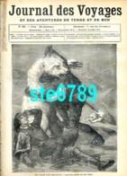 Journal Des Voyages 1878  N° 53 Lutte Ours Blanc , La Terre De Feu Déjeuner Indigènes , Carte Département Creuse - 1850 - 1899