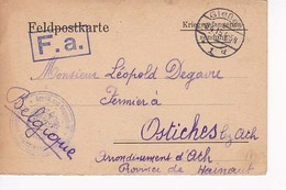 Carte Prisonnier  Giessen à Ostiches Lez Ath  22 03 1915 - Prisonniers