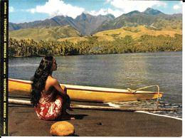 TAHITI  -   BELLE FILLE ,  PUBLICITE LABORATOIRE  BRUNEAU .  ,PLAGE DE SABLE NOIR - Advertising