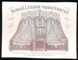 BRUGGE PORSELEINKAART 14X10.5 CM VANROLLEGHEM VANDEVENTER - TAPISSIER - RUE DU ROI 20 BRUGES - Brugge