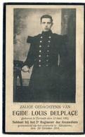 Doodsprentje Egide Louis Delplace - Gesneuveld Adinkerke 1914 - Geboren Ternat 1892 - Images Religieuses