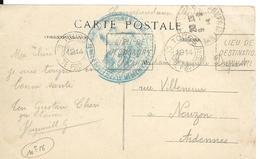 Guerre 14 18 MONTAUBAN Tarn Et Garonne Cachet Bleu HOPITAL TEMPORAIRE N°18 + Cachet TOURS - CENTRE PROVISOIRE 1914  ...G - Storia Postale