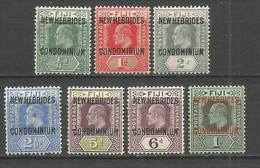 NUEVA HEBRIDES YVERT NUM. 20/26 * SERIE COMPLETA CON FIJASELLOS - Unused Stamps