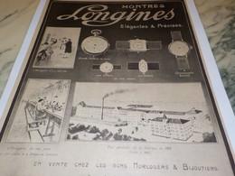 ANCIENNE PUBLICITE ELEGANTES ET PRECISES MONTRE LONGINES 1917 - Jewels & Clocks