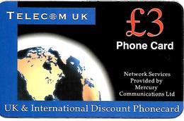 CARTE+-PREPAYEE-GB-MERCURY-3£-TELECOM UK-Plastic Fin R° Glacé-TBE- - Royaume-Uni