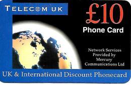 CARTE+-PREPAYEE-GB-MERCURY-10£-TELECOM UK-Plastic Fin R° Glacé-TBE - Royaume-Uni