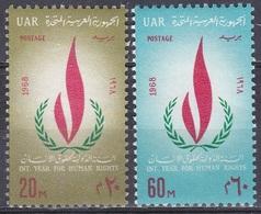 Ägypten Egypt 1968 Organisationen UNO ONU Menschenrechte Human Rights Flammen Flames, Mi. 884-5 ** - Ägypten