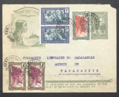 Madagascar Entier Du 29 Avril 1942 En Port Local Avec Timbres En Compléments - Covers & Documents