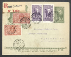 Madagascar Entier Du 20 Février 1942 En Port Local Avec Timbres En Compléments - Madagascar (1889-1960)