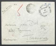 Cote Des Somalis Franchise Militaire Par Avion Avec Cachet Controle Postal Croix De Lorraine Et Censure Pour Tananarive - Côte Française Des Somalis (1894-1967)