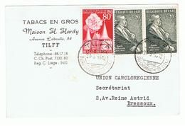 Mooie Briefkaart Van Tabacs En Gros, Maison H.Hardy, Av. Laboulle 84 à Tilff  Verstuurd Naar Bressoux - Publicidad