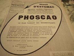 ANCIENNE PUBLICITE ADMI HOPITAUX MILITAIRES  CHOCOLAT PHOSCAO   1915 - Affiches