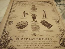 ANCIENNE PUBLICITE CHOCOLAT DE ROYAT MARQUISE DE SEVIGNE 1915 - Affiches