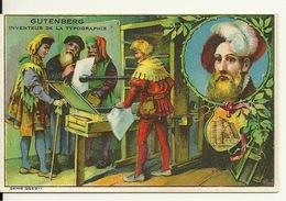 CHROMO FICHE ILLUSTREE / GUTENBERG - INVENTEUR DE LA TYPOGRAPHIE - Histoire