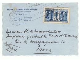 Mooie Briefkaart Van Hotel Terminus Nord , Boulevard Denain 12, Paris Vers Mons - France