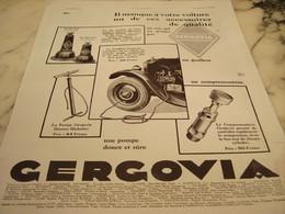 ANCIENNE PUBLICITE CRIC GONFLEUR DE  GERGOVIA 1930 - Transports
