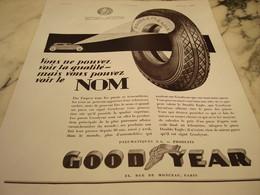 ANCIENNE PUBLICITE  DES PNEUS GOODYEAR  1930 - Transport