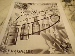 ANCIENNE PUBLICITE EAU DE COLOGNE DE ROGER GALLET  ET FARINA 1930 - Parfums & Beauté