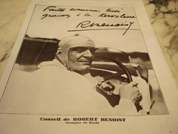 ANCIENNE PUBLICITE HUILE POUR AUTOS KERVOLINE AVEC ROBERT BENOIST 1930 - Transports