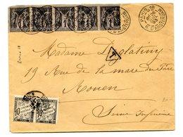 France, N°83 Bande De 5 Sur Lettre Taxée (taxe N°15 X2) 1893 - (B2067) - Marcophilie (Lettres)