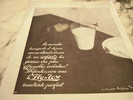 ANCIENNE PUBLICITE VERRE DE LAIT ET   FLY-TOX 1930 - Publicité