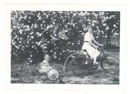 Photo Ancienne Jeune Femme & Enfant Dans Charrette, Vélo - Personnes Anonymes