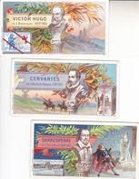 3 Chromos Victor Hugo Cervantes  Shakespeare Chocolat Tobler - Autres Collections