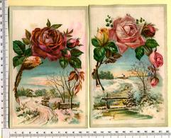 2 CHROMOS LITHOS.GRAND FORMAT...H  17  Cm.....PAYSAGES D'HIVER...ROSES....IMPORTANT RELIEF - Vieux Papiers