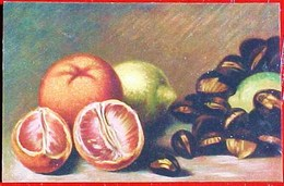 Cpa FRUITS NATURE MORTE, ORANGES CITRON & CHATAIGNES  , Art    Série Artistica , STILL LIFE ORANGE CHESTNUT LEMON - Plantes Médicinales