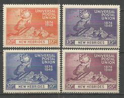 NUEVA HEBRIDES YVERT NUM. 140/143 * SERIE COMPLETA CON FIJASELLOS - Leyenda Inglesa