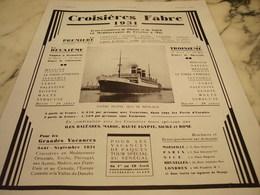 ANCIENNE AFFICHE PUBLICITE CROISIERE FABRE 1931 - Bateaux